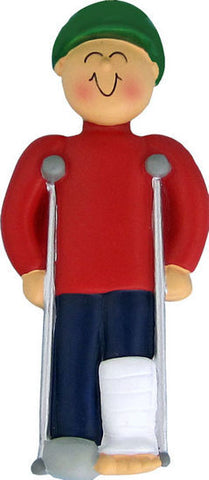 Male on Crutches Christmas Ornament