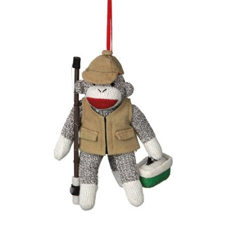Fisherman Sock Monkey Christmas Ornament