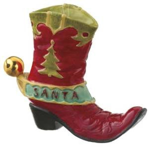 Santa Cowboy Boot Christmas Ornament