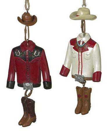 Cowboy Clothing Dangle Christmas Ornaments (set of 2)