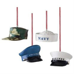 Military Hat Christmas Ornaments - Set of 4
