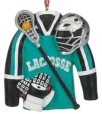 Lacrosse Gear Jersey, Racquet, Ball, Gloves, Helmet Christmas Ornament