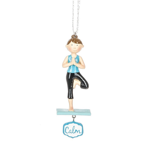 """Calm"" Girl Yoga Christmas Ornament"