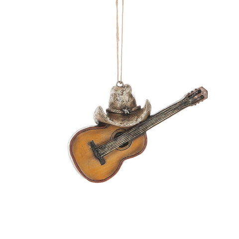 Guitar with Cowboy Hat  Christmas Ornament