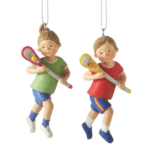 Boy & Girl Lacrosse Christmas Ornament (Set of 2)