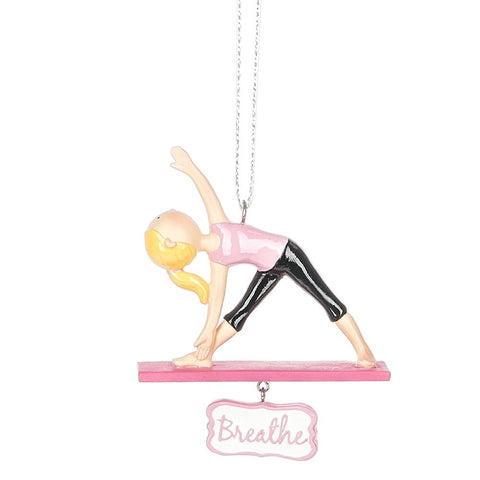 """Breathe"" Girl Yoga Triangle Pose Ornament"