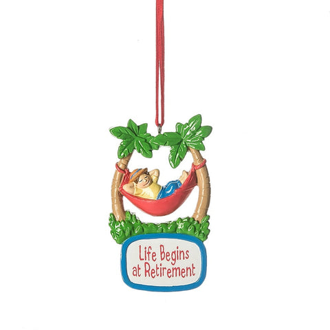 """Life Begins at Retirement"" Ornament"