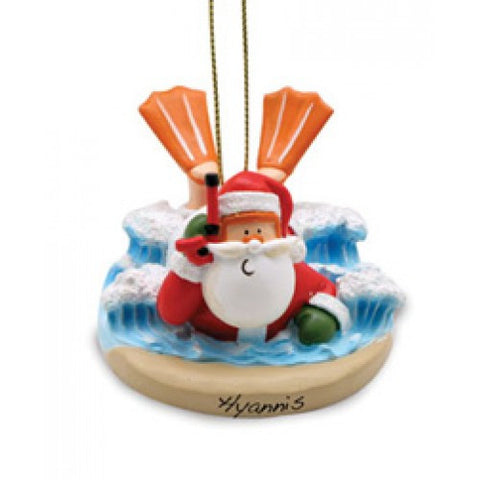 Body Surfing Santa Christmas Ornament