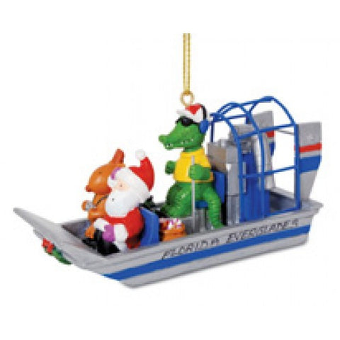 Gator Driving Airboat Christmas Ornament