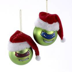 Teenage Mutant Ninja Turtles© Shatterproof Ball With Santa Hat:  Leonardo and Raphael
