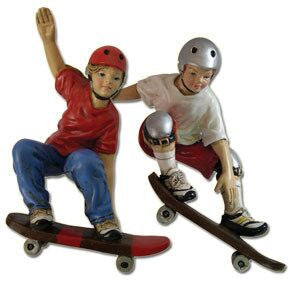 Boy & Girl Skateboarders Ornaments (Set of 2)