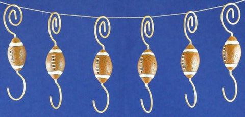Football Christmas Ornament Hooks (set of 6)