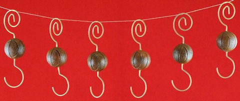 Basketball Christmas Ornament Hooks (set of 6)