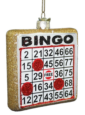 Glass Bingo Christmas Ornament