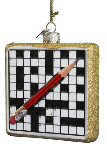 Glass Crossword Christmas Ornament