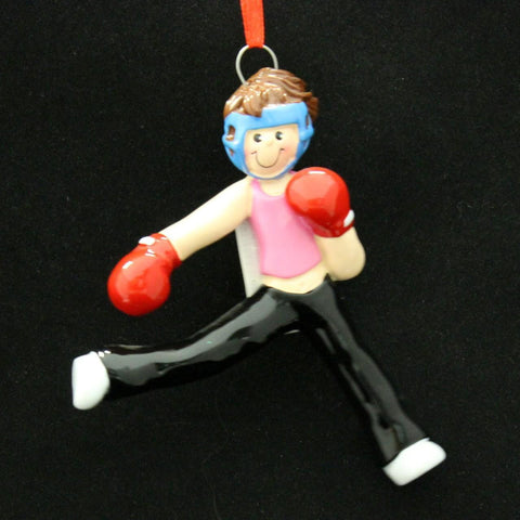 Kick Boxer Girl Christmas Ornament