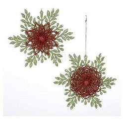 Green & Red Showflake Ornament (Set of 2)