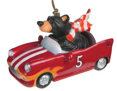 Bearfoot Bear Race Car Ornament