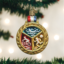 Old World Christmas Triathlon Medallion Glass Ornament