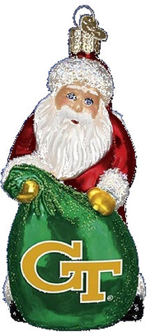 Old World Christmas Georgia Tech Santa Glass Christmas Ornament