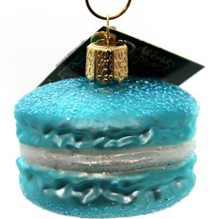 Old World Christmas Macaroon Glass Blown Ornament, Blue