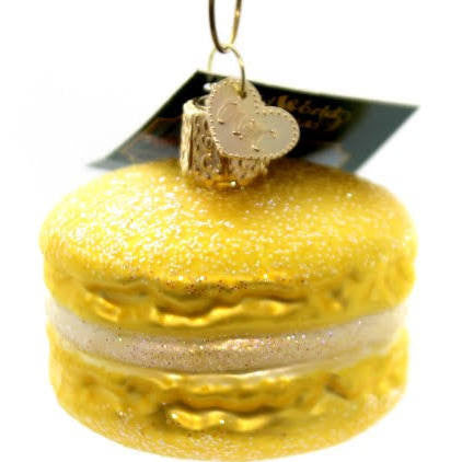 Old World Christmas Macaroon Glass Blown Ornament, Yellow