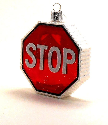 Old World Christmas Stop Sign Glass Ornament