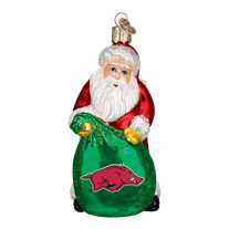 Old World Christmas University of Arkansas Santa Christmas Ornament