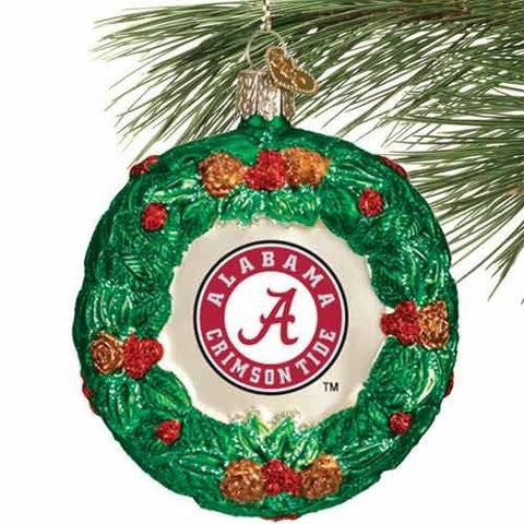 NCAA Alabama Crimson Tide Glass Wreath Ornament