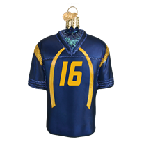 NCAA West Virginia Mountaineers #16 Glass Football Jersey Ornament