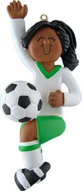 Female African American Soccer Player in Green Uniform Christmas Ornament