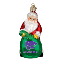Old World Christmas Kansas State Santa Glass Christmas Ornament