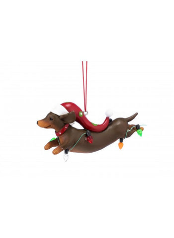 Dachshund with Christmas Lights Ornament