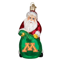 Old World Christmas University of Minnesota Santa Glass Blown Ornament