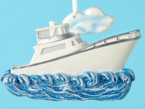 Boat on the Water Christmas Ornament