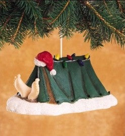 Sleeping Santa in tent  Christmas Ornaments