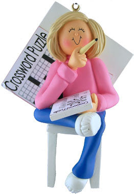 Blonde Female Crossword Puzzle Christmas Ornament