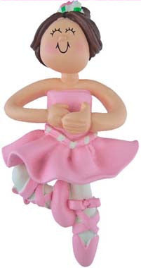 Brunette Ballerina Christmas Ornament