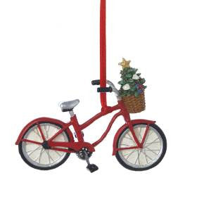 Bicycle with Christmas Tree Basket Ornament