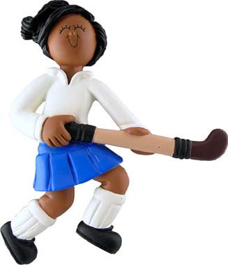 African-American Female Field Hockey Christmas Ornament