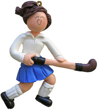 Brunette Female Field Hockey Christmas Ornament