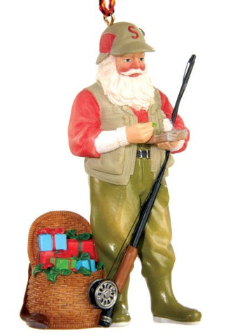 Flyfishing Santa Christmas Ornament