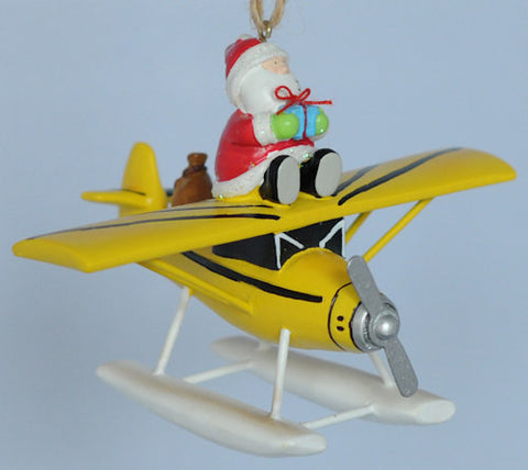 Santa on Float Plane Christmas Ornament
