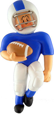 Football Player in Blue Uniform Christmas Ornament