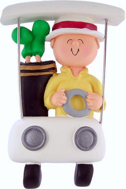 Golfer in Cart Christmas Ornament