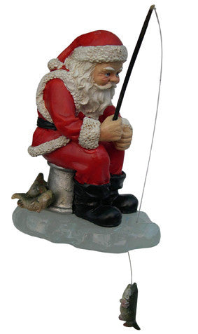 Ice Fishing Santa Christmas Ornament