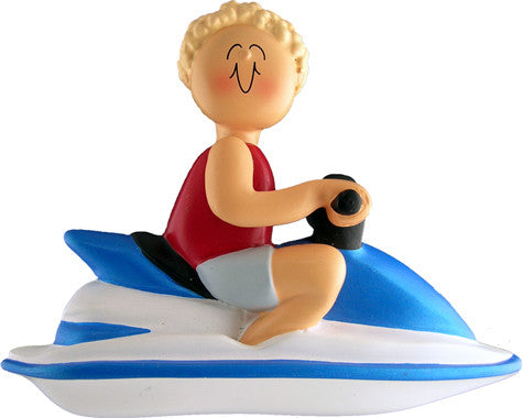 Blonde Male Jet Skier Christmas Ornament