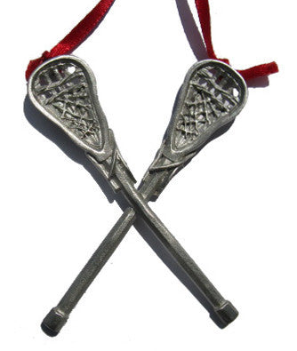 Crossed Lacrosse Sticks Christmas Ornament - Male Lacrosse Player Christmas Ornament €� Fun Christmas Ornaments