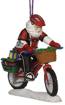Mountain Biking Santa Christmas Ornament