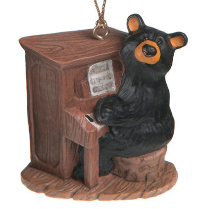 Bear Playing Piano Christmas Ornament